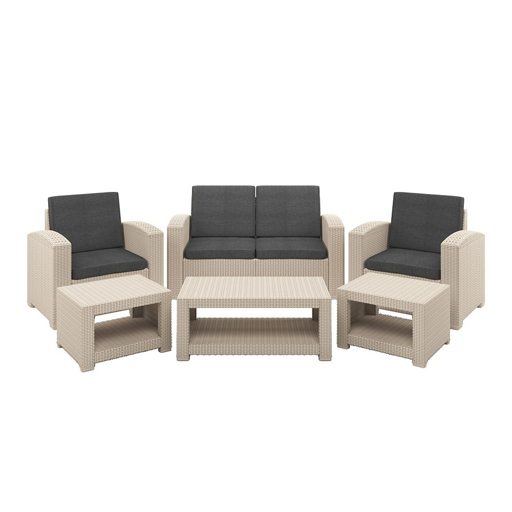 Corliving 6pc All-Weather Beige Conversation Set with Dark Grey Cushions