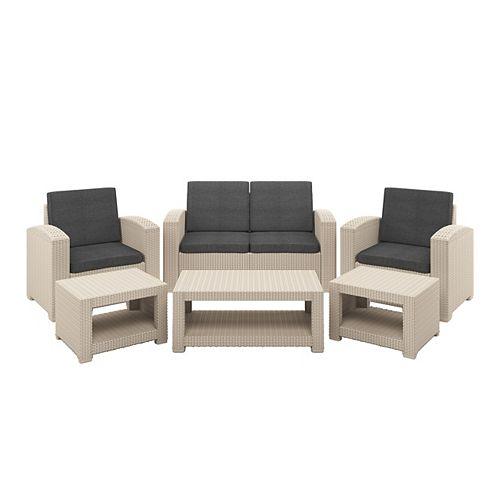 6pc All-Weather Beige Conversation Set with Dark Grey Cushions