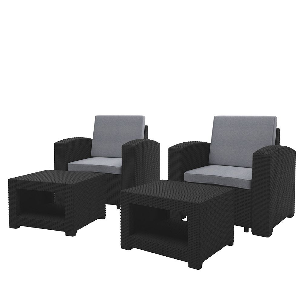 Corliving Black Chair and Ottoman Patio Set