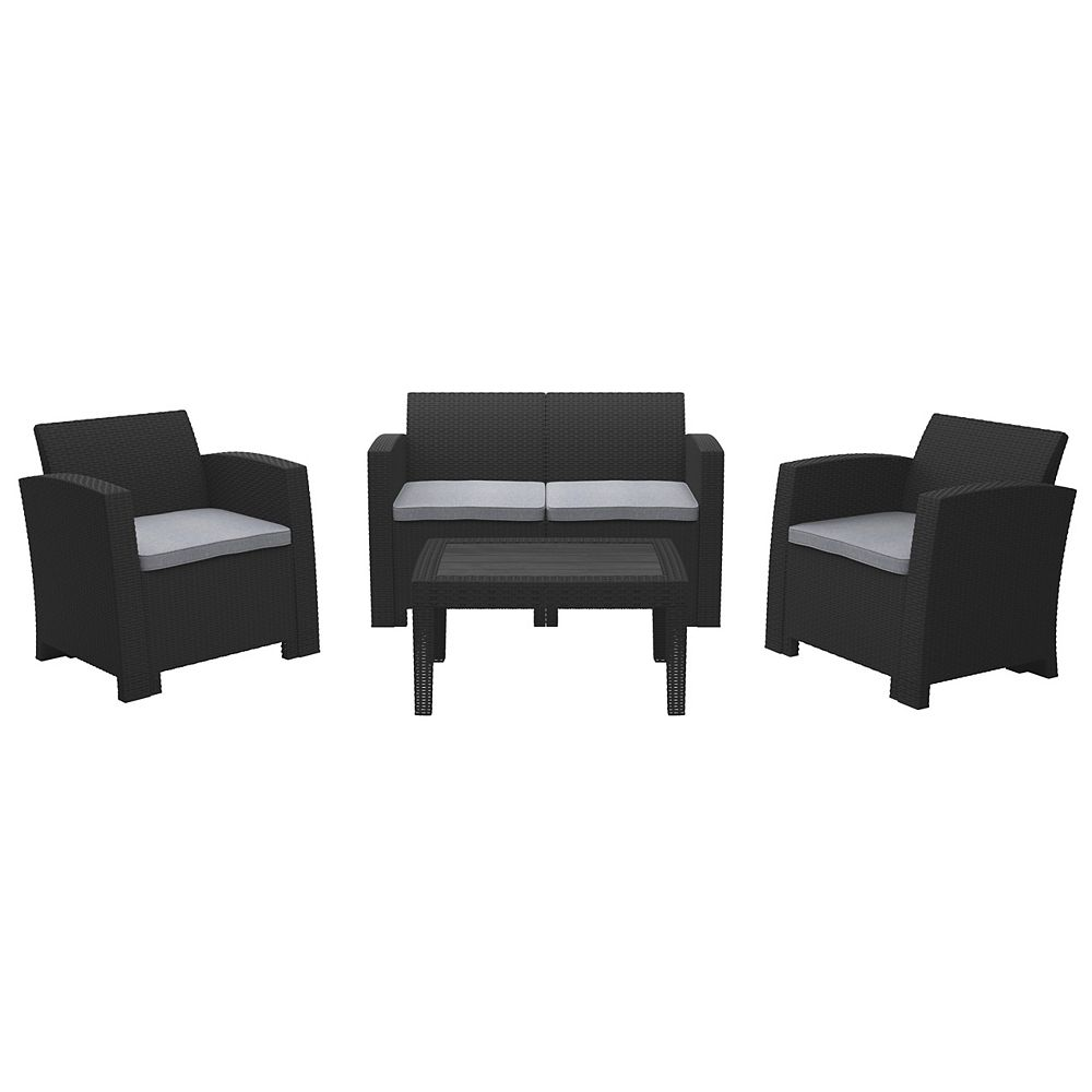 Corliving 4pc All-Weather Black Conversation Set with Light Grey Cushions