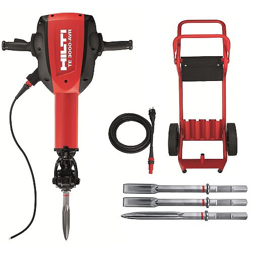 15 Amp 120-Volt 1-1/8 in. TE 3000-AVR Polygon Demolition Jack Hammer with Trolley, Cord and Chisels
