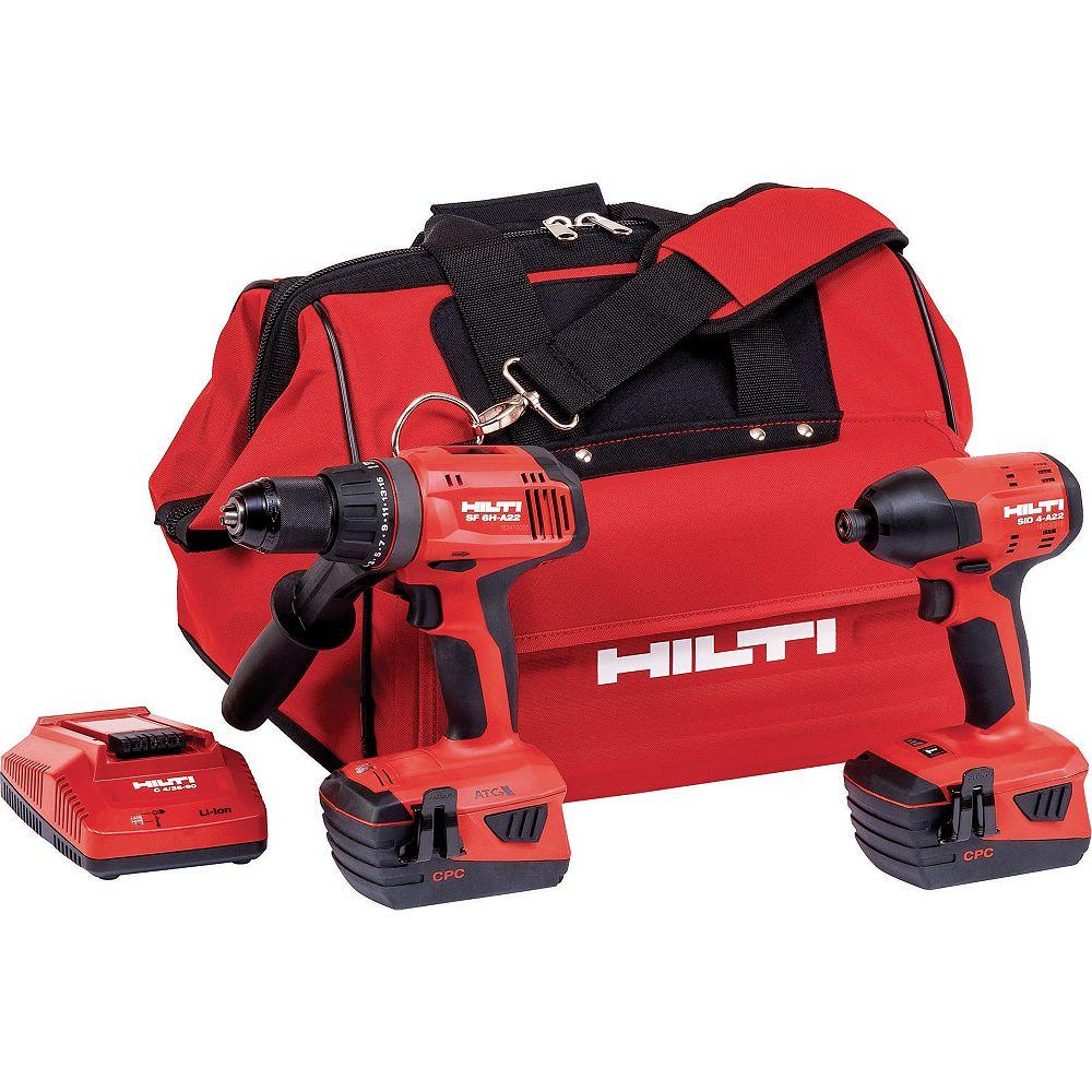 Hilti 22-Volt Lithium-Ion Keyless Chuck Cordless Hammer Drill Driver/Impact Driver Combo Kit (2-Tool)