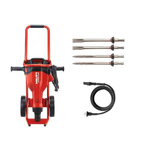 15 Amp 120 Volt 1 in. TE 2000-AVR Polygon Demolition Jack Hammer Kit with Trolley and 4 Chisels