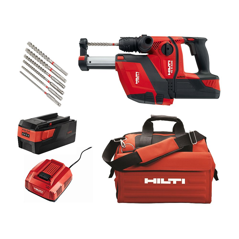 Hilti 36-Volt B36/5.2 Lithium-Ion 1/2 in. SDS Plus Cordless Rotary Hammer TE 6-A36 Industrial with DRS Kit