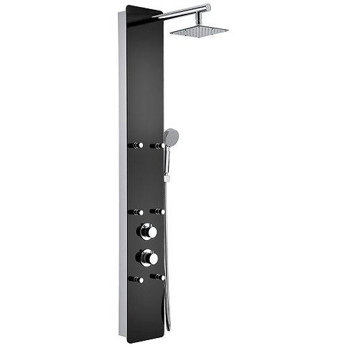 Melody 6-Panneau de douche jeté avec la douche de pluie lourde  en noir