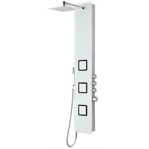 Leopaed 3-Panneau de douche de corps complet avec la douche de pluie lourde  en blanc