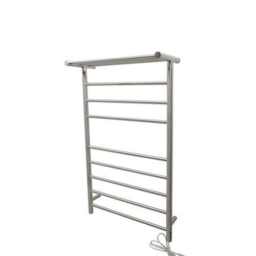 Eve 8-Bar Stainless Steel Wall Mounted Electric Towel Warmer Rack in Brushed Nickel