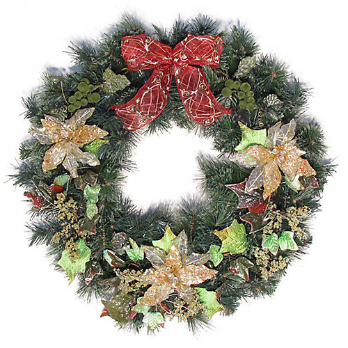 30' Decorated Wreath Bow