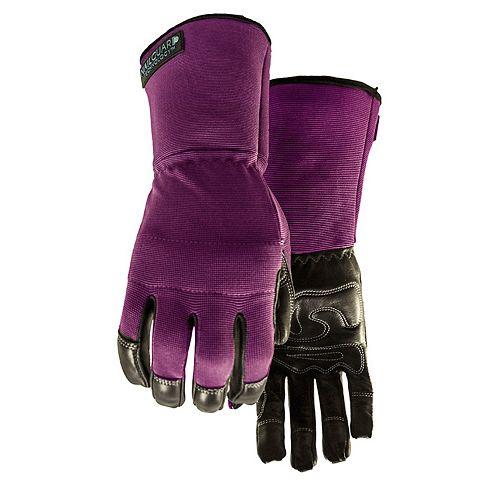 Gants de jardinage pour femmes résistants à l'eau, son poignet style manchette - Perfect 10 Mauve -M