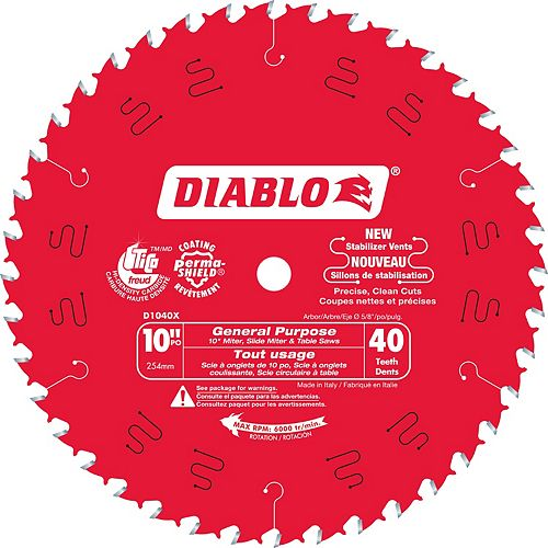 Diablo 10-inch x 40 Tooth Carbide Tipped General Purpose Mitre/Table Saw Blade for Wood Cutting (2 Pack)
