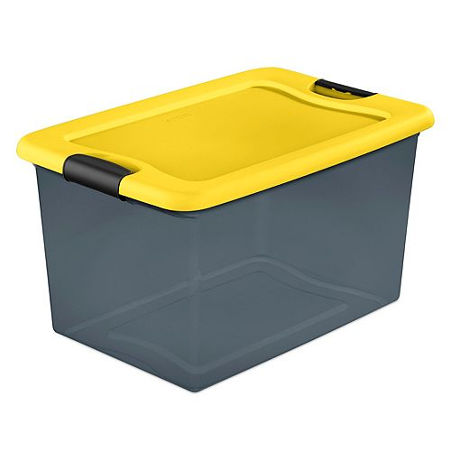 60L (64 qt.) Clear Plastic Stackable Latching Storage Tote with Yellow Lid