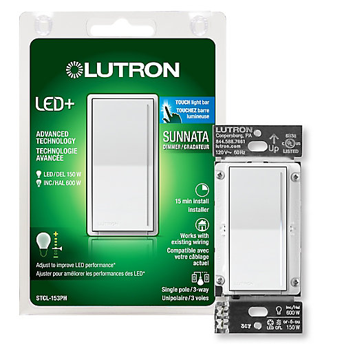Lutron Sunnata Touch Dimmer with LED+ Technology for Superior Dimming of LEDs, White
