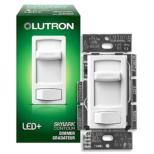 Lutron Skylark Contour Dimmer Switch, Single Pole/3-Way Dimmable CFL & LED Dimmer in White