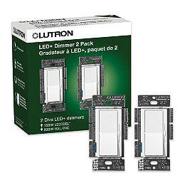 Gradateur Diva LED+ pour ampoules à DEL/halo/incand, paquet de 2, unipolaire/3 voies, blanc