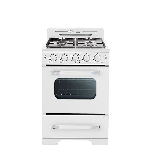 "Classic Retro 24"" 2.9 cu. ft. Gas Range with Convection Oven in Marshmallow White"