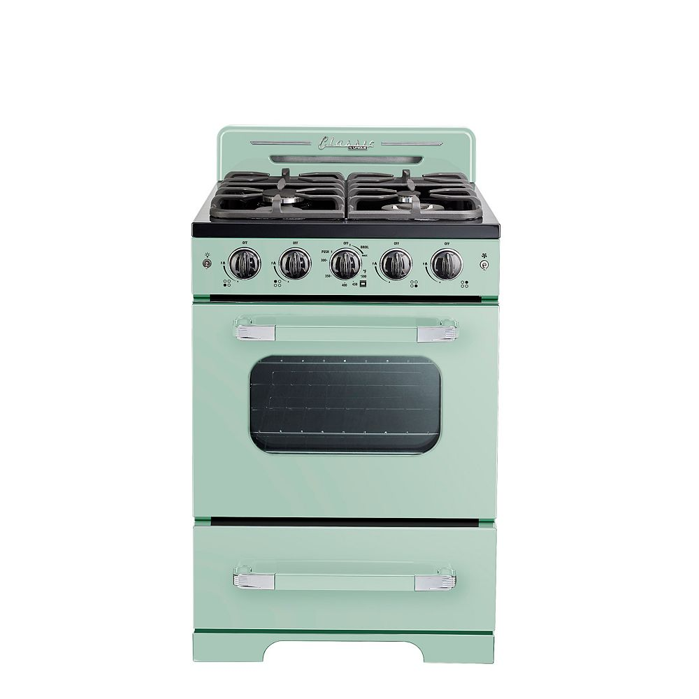 """Unique Classic Retro 24"""" 2.9 cu. ft. Gas Range with Convection Oven in Summer Mint Green"""