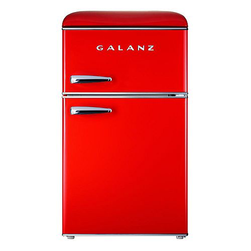 Galanz 3.1 cu. ft. Retro Mini Fridge with Dual Door True Freezer in Red