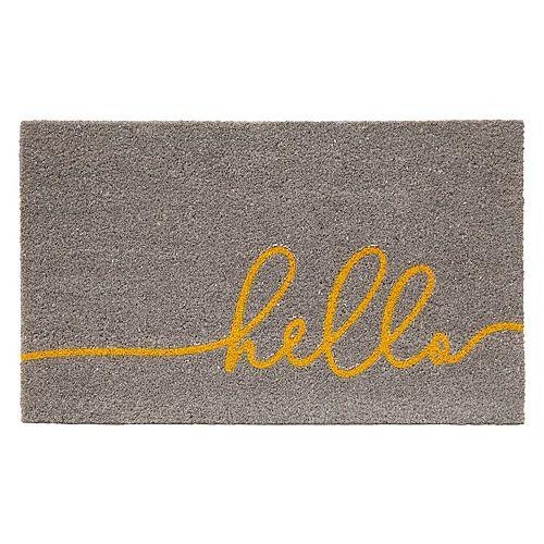 """Multy Home """"Hello"""" Script Grey 18-inch x 30-inch Coir Door Mat"""