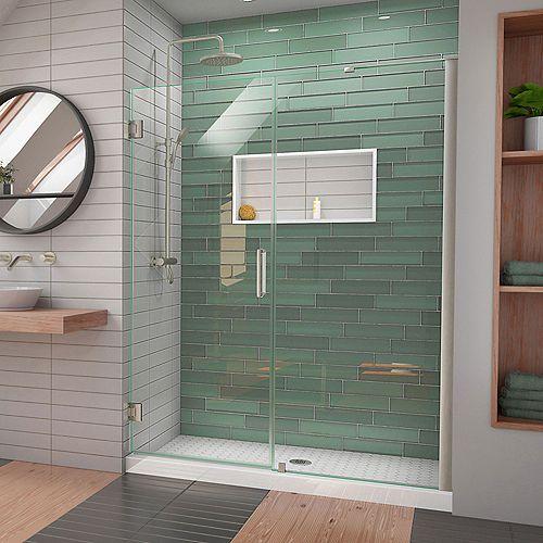 DreamLine Unidoor-LS 53-54 in. W x 72 in. H Hinged Shower Door in Brushed Nickel