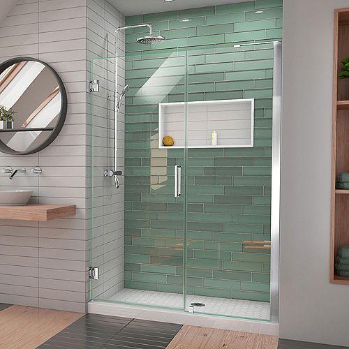 DreamLine Unidoor-LS 47-48 in. W x 72 in. H Hinged Shower Door in Chrome