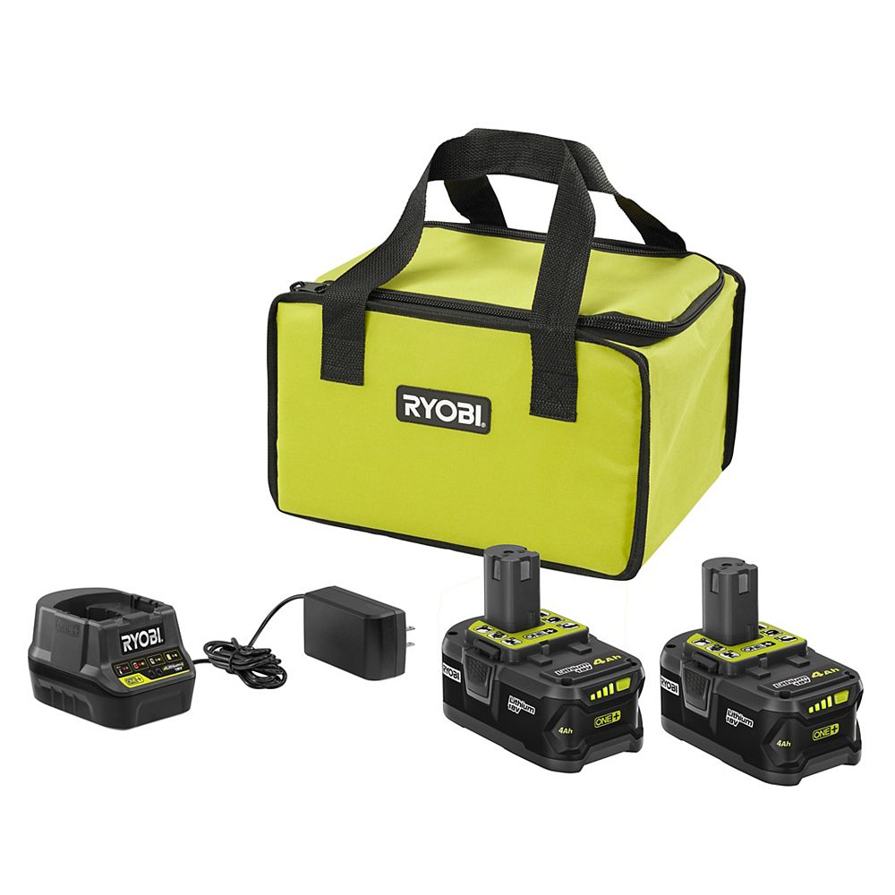RYOBI 18V ONE+ Starter Kit with (2) 4.0 Ah Batteries and Charger