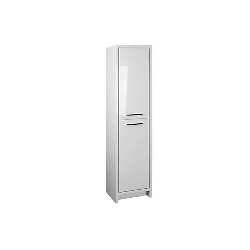 Romali 16 inch Linen Cabinet in Gloss White Finish with 2 Soft Closing Doors