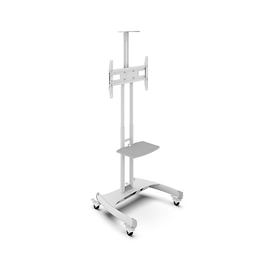 Kanto MTM65PLW Adjustable Mobile TV Cart with Shelf for 37-inch to 65-inch Screens, White
