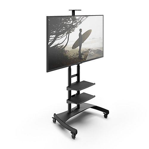 Kanto MTM82PL2 Adjustable Mobile TV Cart with Two Included Shelves for 50-inch to 82-inch Screens