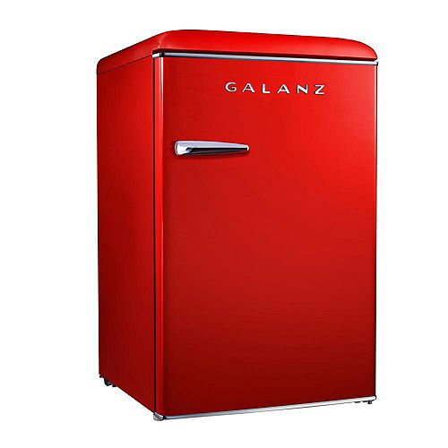 Galanz 4.4 cu. ft. Retro Mini Refrigerator Single Door Fridge, Fridge Only in Red