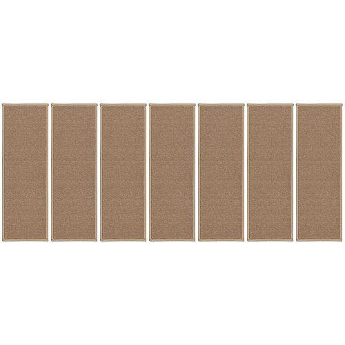Dark Beige 8.5-inch x 26.5-inch Non-Slip Rubber Back Stair Tread Cover (Set of 14)