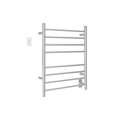 Prestige Dual 8-Bar Hardwired and Plug-in Towel Warmer Brushed Stainless Steel with Countdown Timer