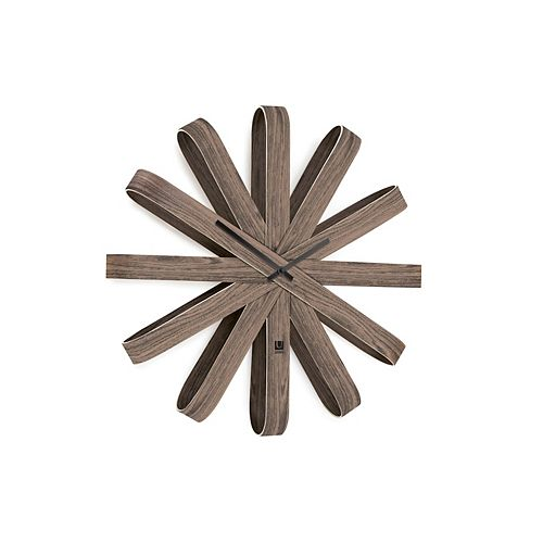 Ribbonwood Wall Clock Aged Walnut