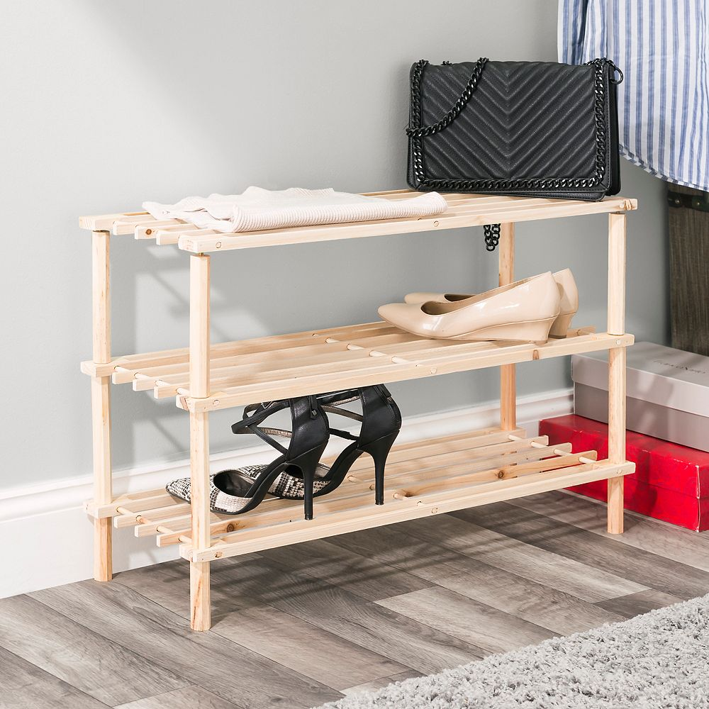 Home Basics 3 Tier Wooden Shoe Rack