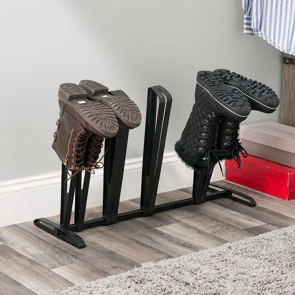Home Basics Adjustable 4 Pair  Plastic Boot Rack Organizer, Black