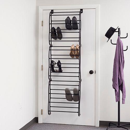 36 Pair Over the Door Steel Shoe Rack, Black