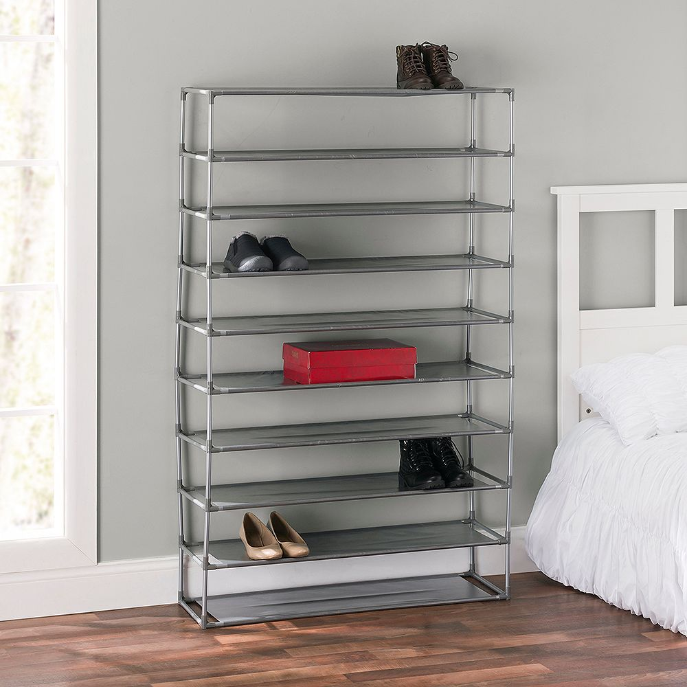 Home Basics 50 Pair Non-Woven Multi-Purpose Stackable Free-Standing Shoe Rack, Grey