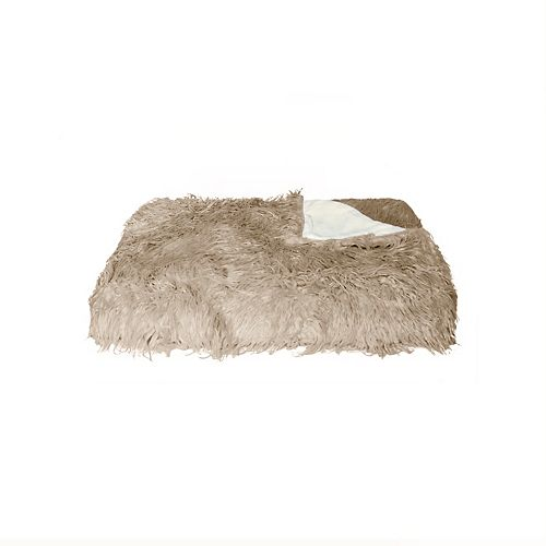 LUXE Mongolian Sheepskin Faux Fur Tan Throw Blanket