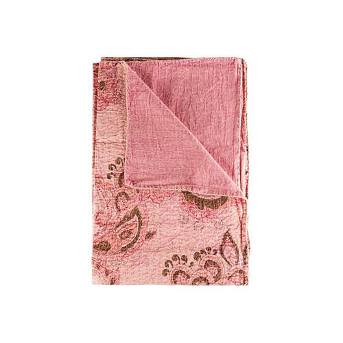Taj Hotel Jeté En Coton Rétro Kantha  Rose/Bourgogne/Brun
