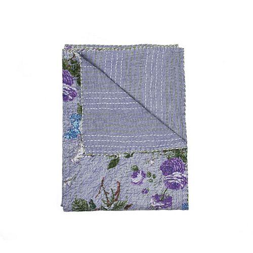 Jeté En Coton Rétro Kantha  Lavendre/Vert/Violet