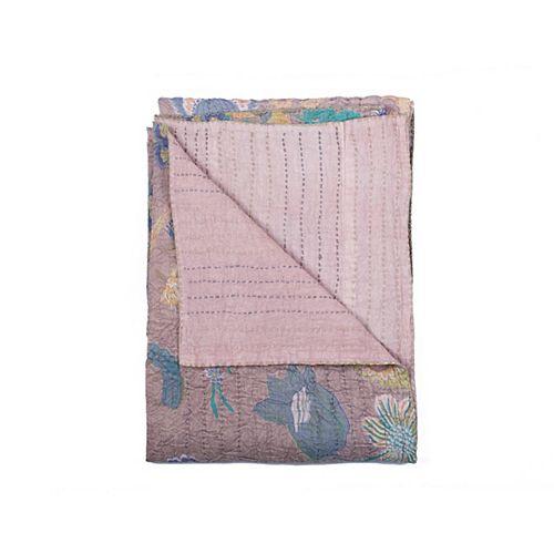 Jeté En Coton Rétro Kantha  Lavendre/Bleu Doux