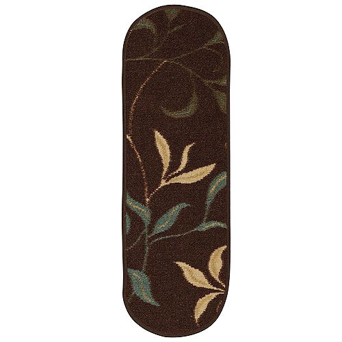 Ottohome Collection Dark Brown 9-inch x 26-inch Polypropylene Oval Stair Tread Cover (Set of 14)