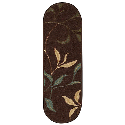 Ottohome Contemporary Leaves Brown 9-inch x 26-inch Rubber Back Oval Stair Tread Cover (Set of 7)