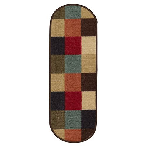 Ottohome Checkered Multi-Colored 9-inch x 26-inch Rubber Back Oval Stair Tread Covers (Set of 7)