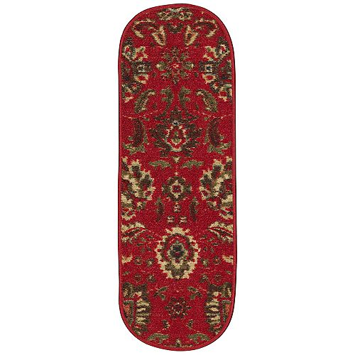 Ottohome Traditional Floral Red 9-inch x 26-inch Rubber Back Oval Stair Tread Covers (Set of 7)