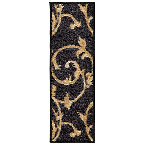 Ottohome Collection Vines Black 9-inch x 26-inch Polypropylene Stair Tread (Set of 7)