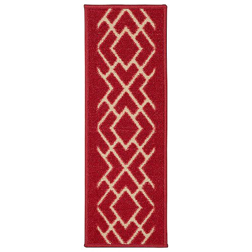 Ottohome Collection Red 9-inch x 26-inch Polypropylene Stair Tread (Set of 7)