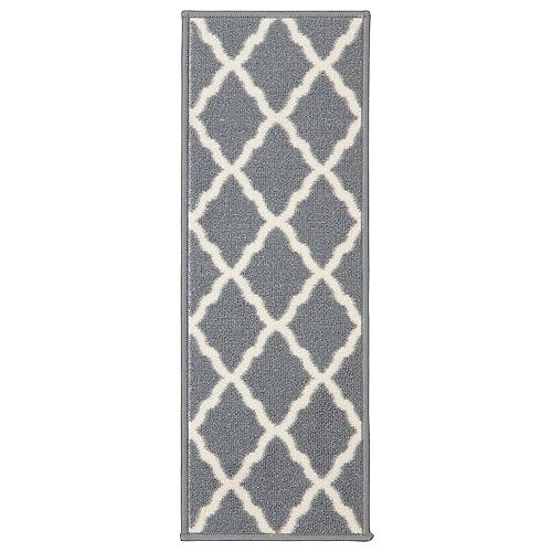 Glamour Collection Gray 9-inch x 26-inch Polypropylene Stair Tread Cover (Set of 13)
