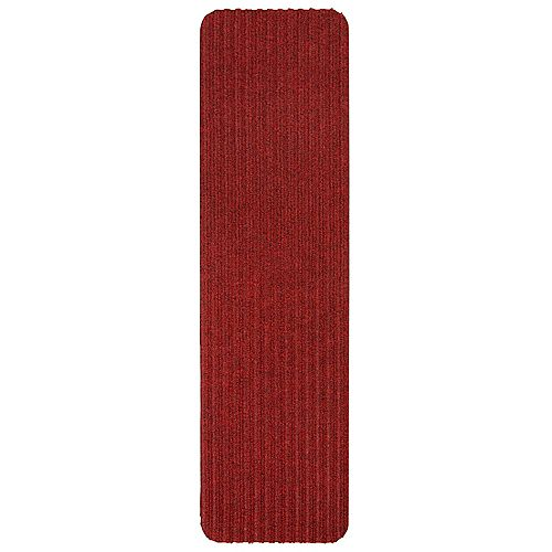 Scrape Rib Collection Red 8-inch x 30-inch Black Latex Back Stair Tread Cover (Set of 14)