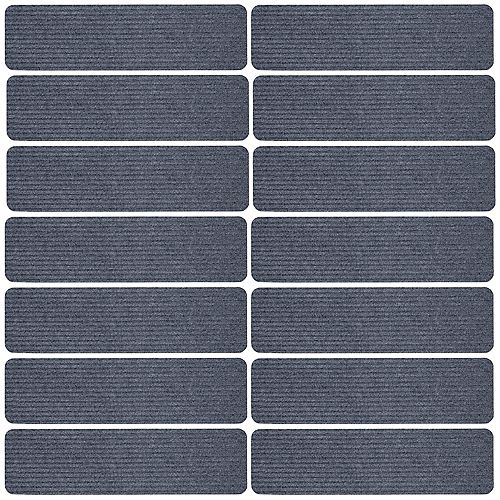 Scrape Rib Collection Gray 8-inch x 30-inch Black Latex Back Stair Tread Cover (Set of 14)