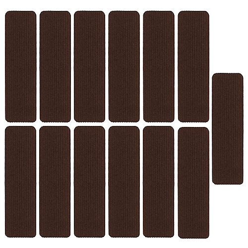 Scrape Rib Collection Brown 8-inch x 30-inch Black Latex Back Stair Tread Cover (Set of 13)